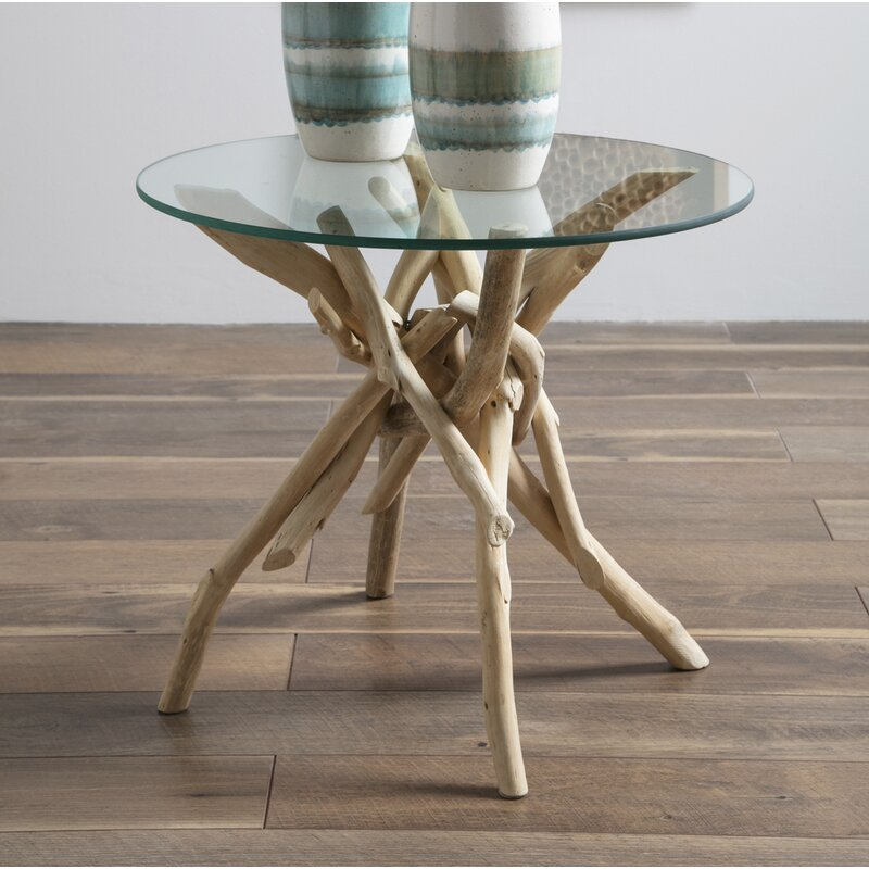 beautiful driftwood side table with glass top