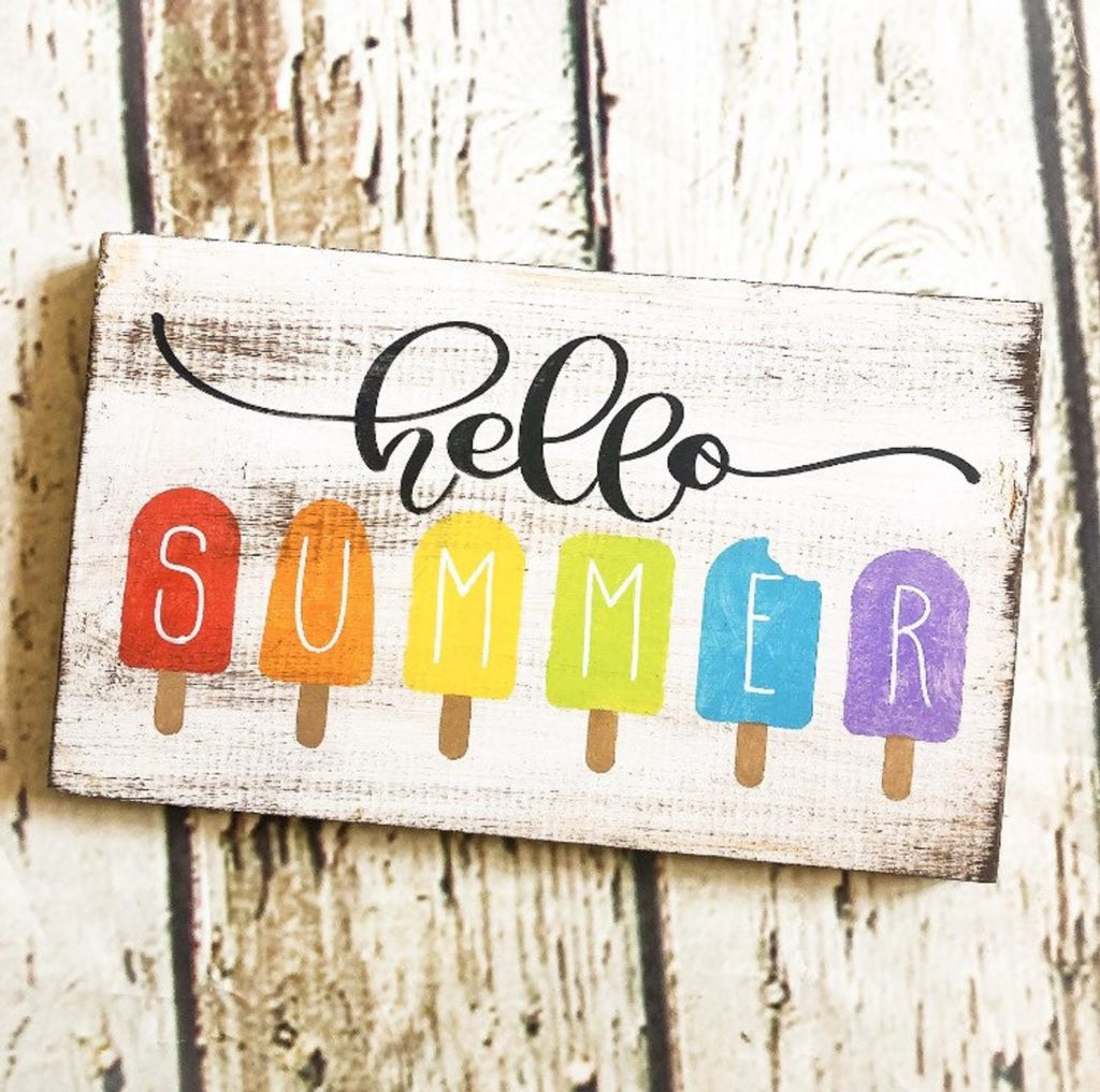 rainbow popsicle summer sign