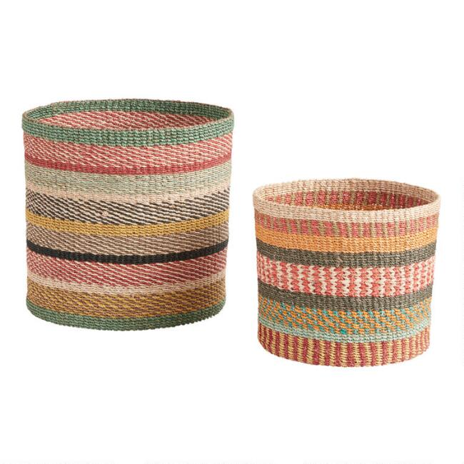 sisal plant pots in summery colors