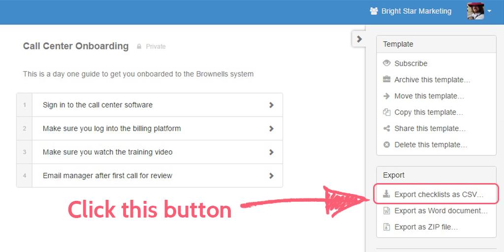 process street help site - export csv button