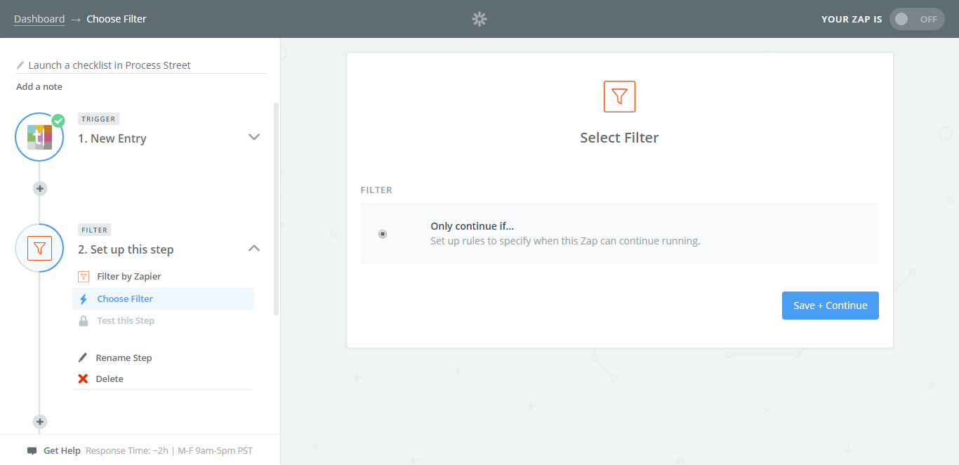 integrate process street with typeform add filter