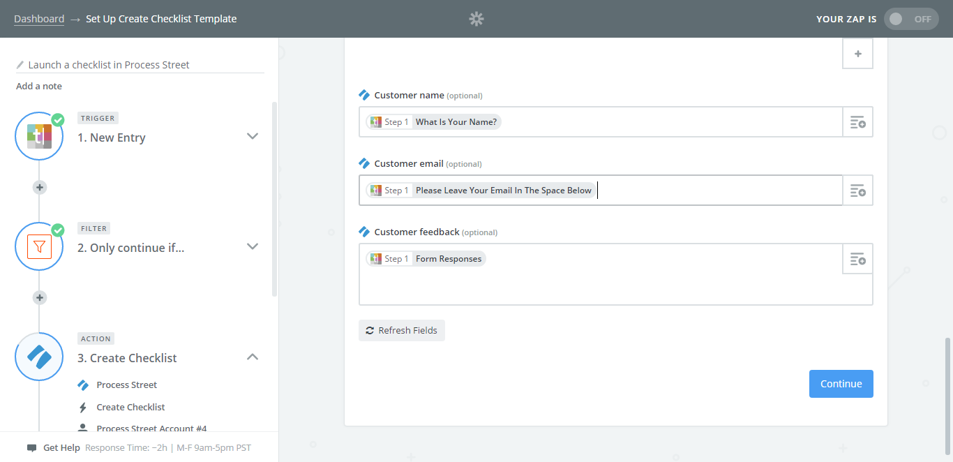 integrate process street with typeform updated screenshot