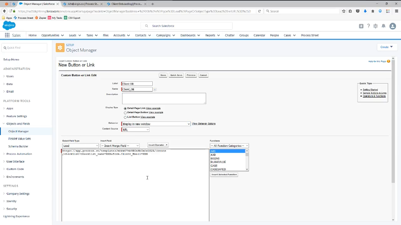 integrate salesforce with process street add new button or link