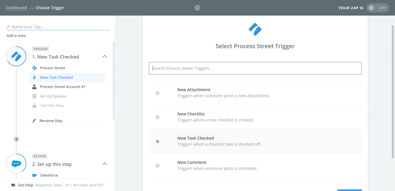integrate salesforce with process street select trigger