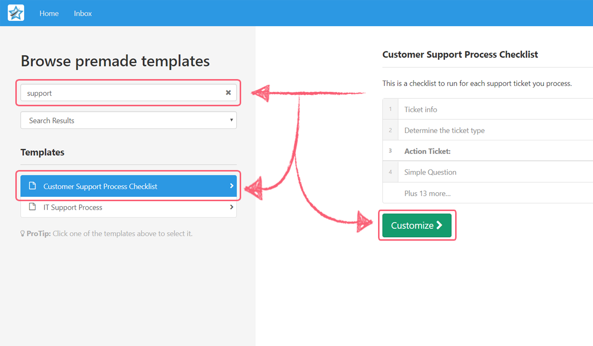 process street zendesk integration - get premade support template