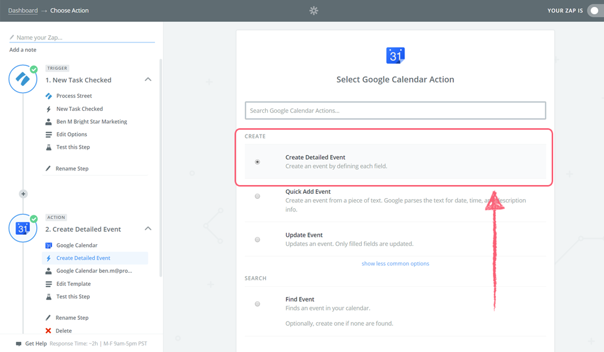 google calendar integrate process street - zap create detailed event