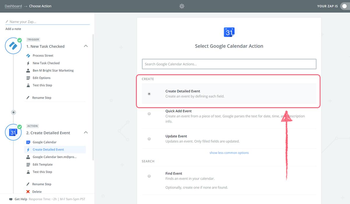 google calendar integrate process street - zap create detailed event