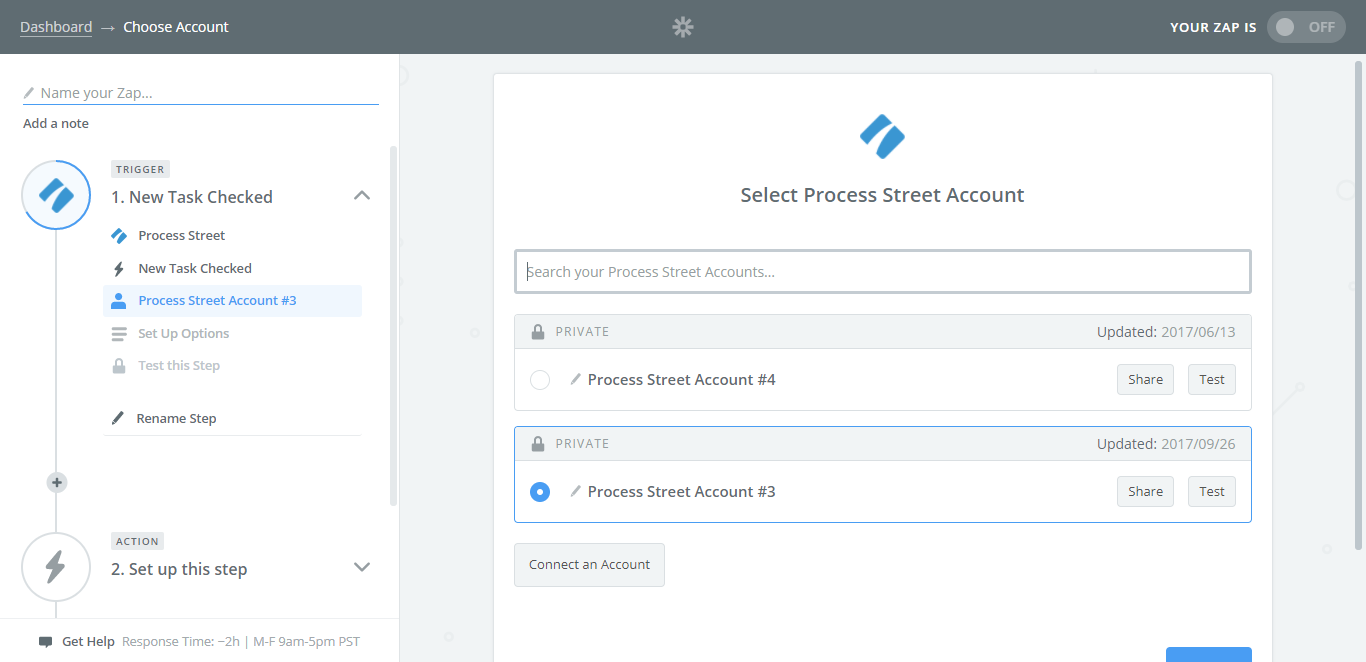 process street google drive integration select account