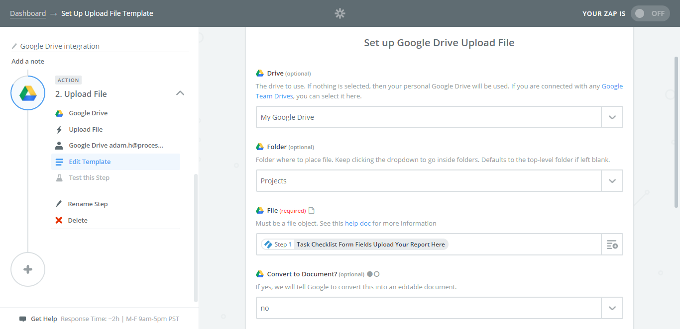 process street google drive integration settings