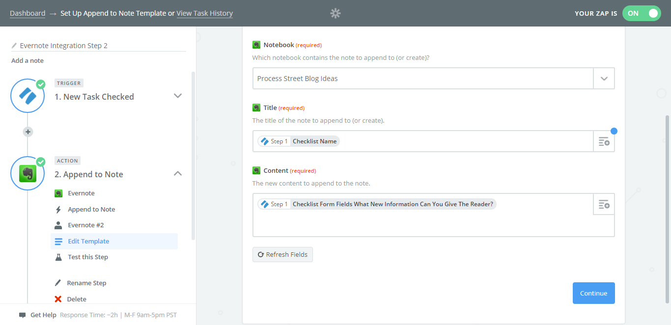 evernote process street integration add to note