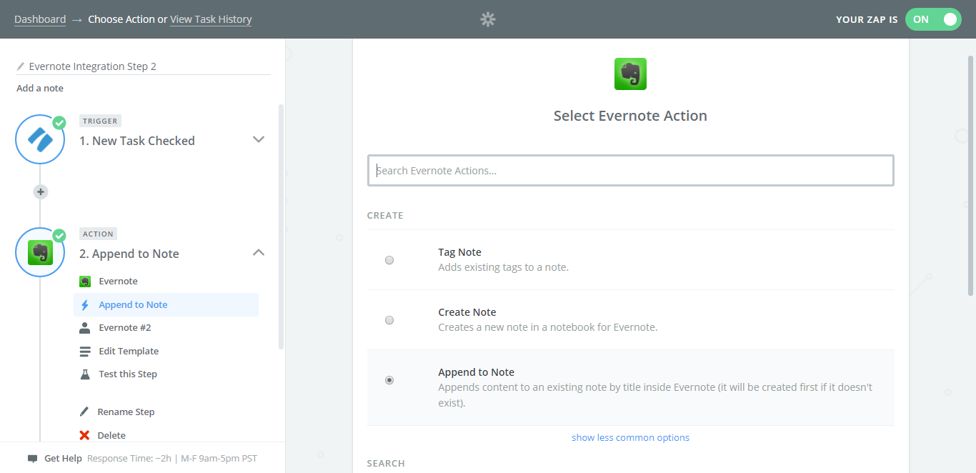 evernote process street integration append to note
