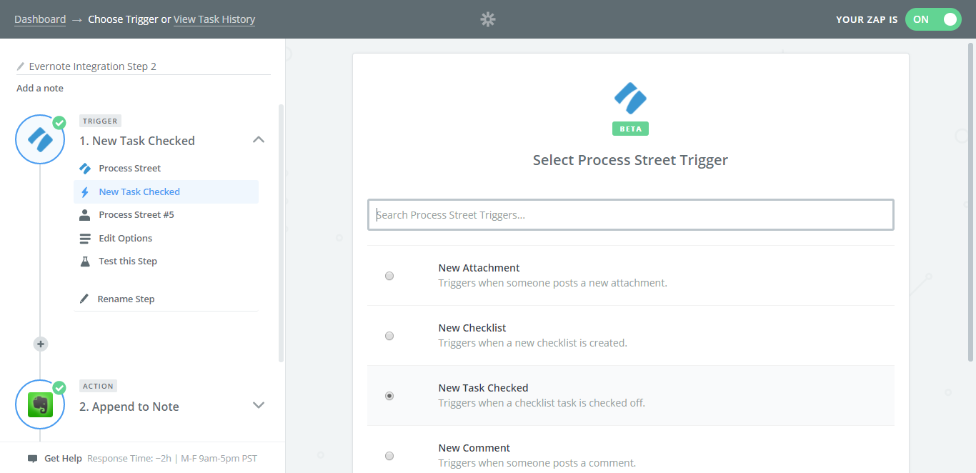 evernote process street integration new task checked
