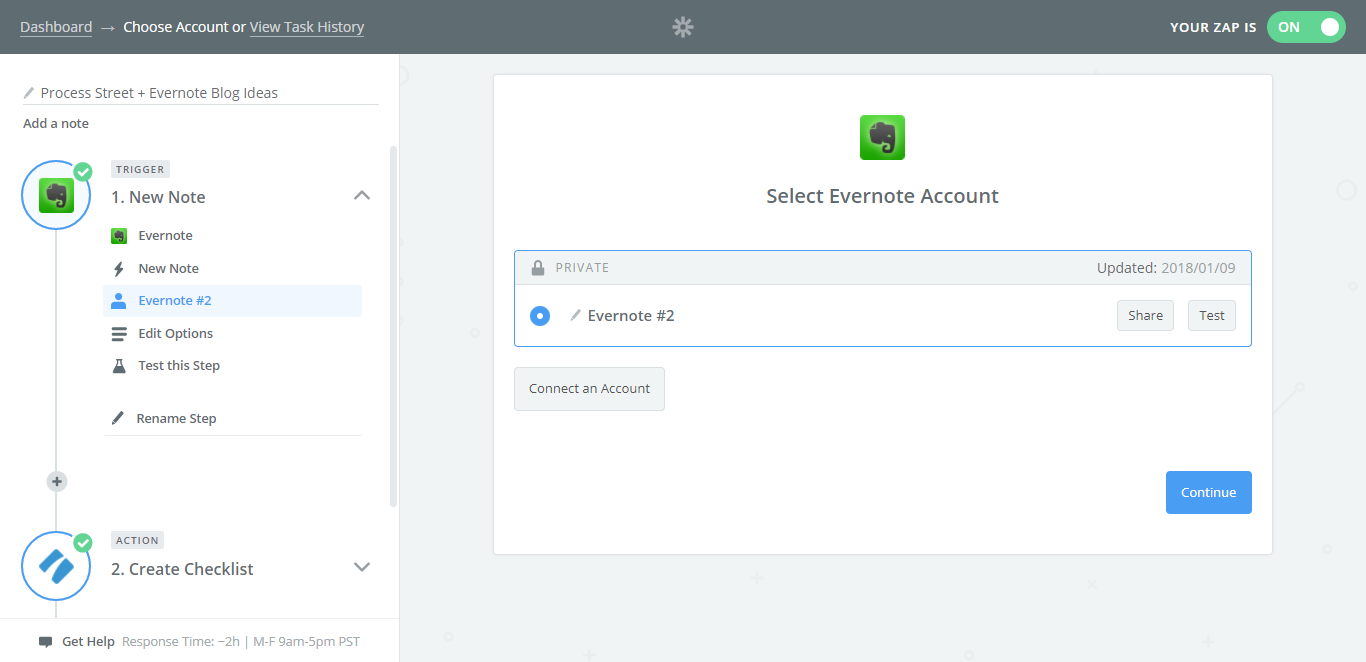 evernote process street integration select evernote account