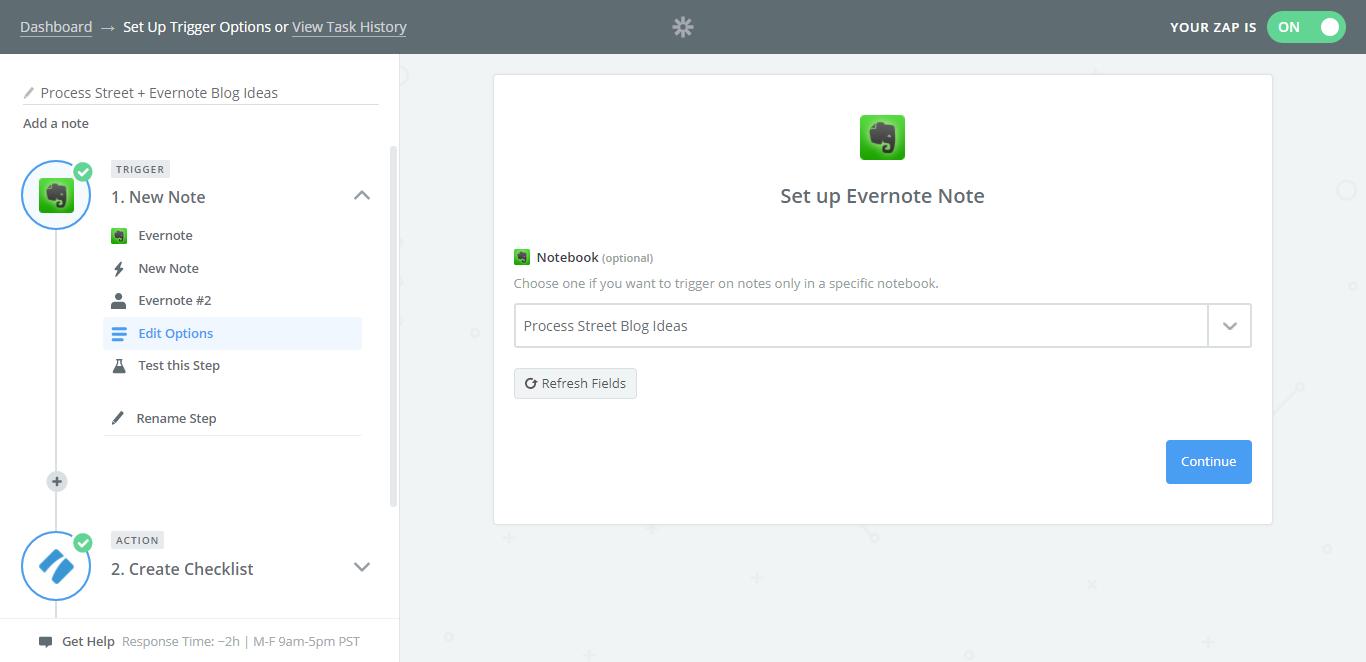 evernote process street integration select notebook