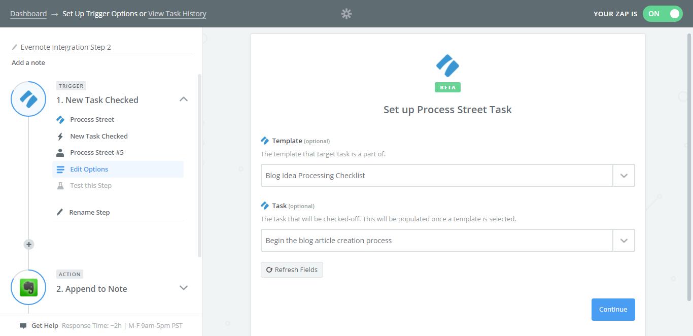 evernote process street select task
