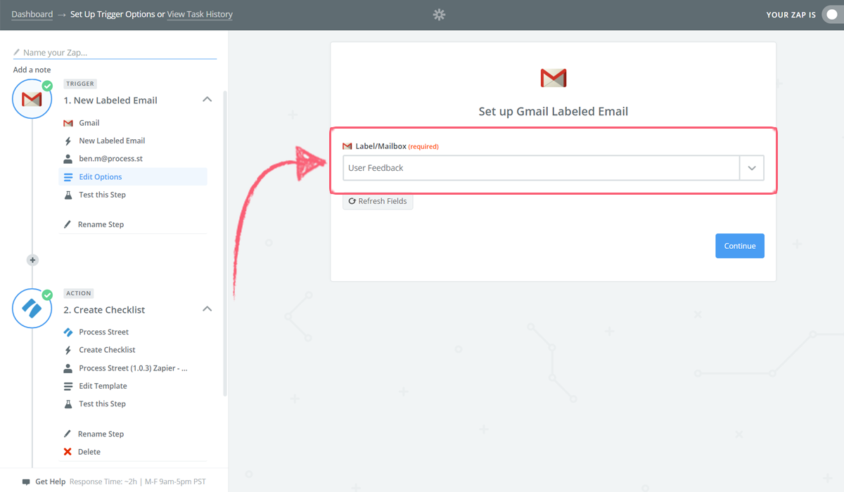 gmail integration - select user feedback label