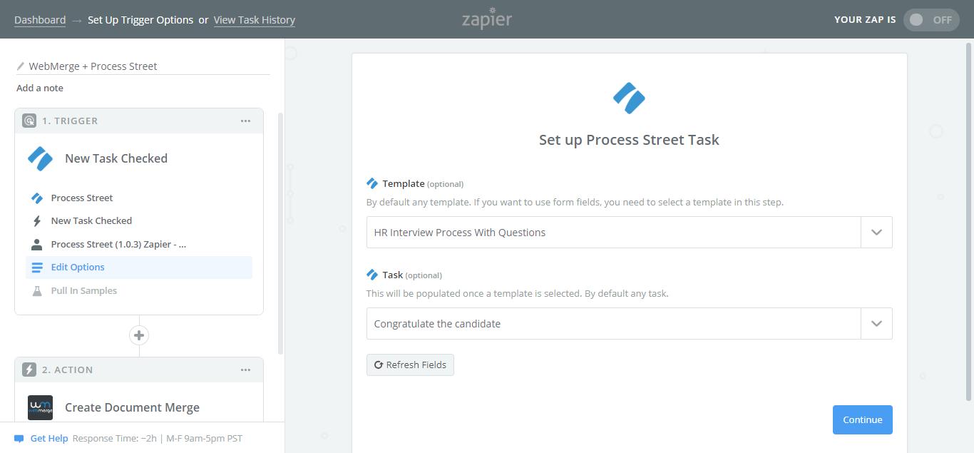 webmerge process street integration select template