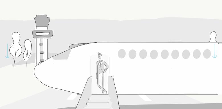 Aa Pilot At Plane Sketch