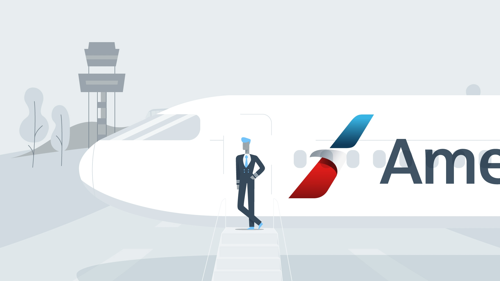 American Airlines: Cadet Academy Hero Image of Pilot Character with Plane.