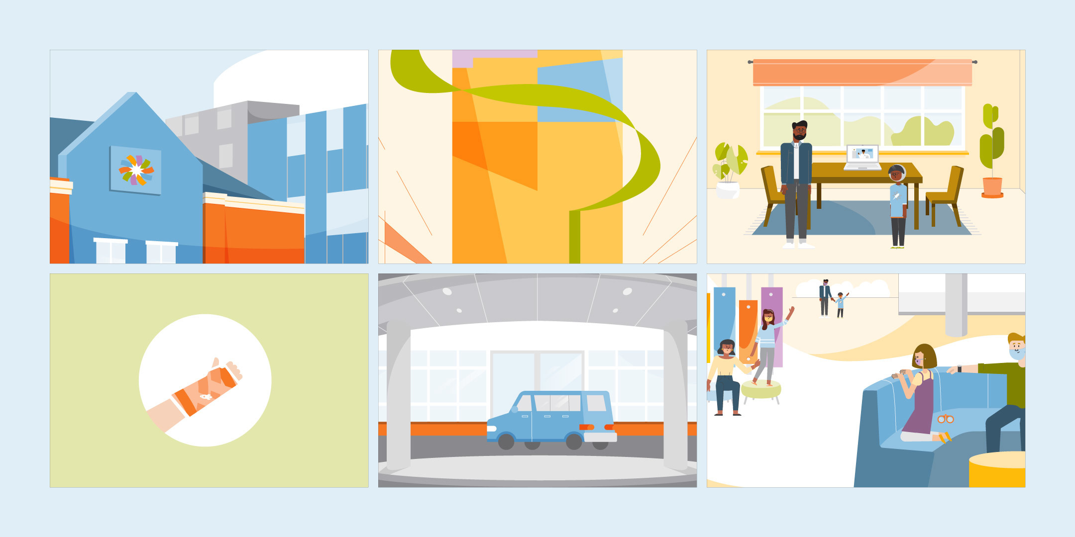 A collection of final styleframes for the Dayton Children's: What to Expect Animation