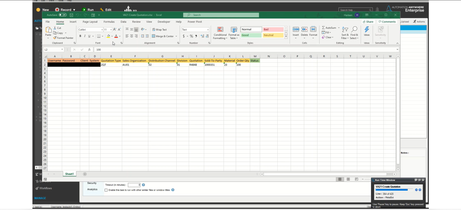 VA21 SAP Processing