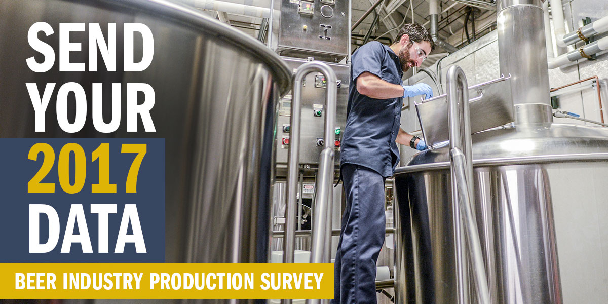 Send your 2017 data. Beer Industry Production Survey.
