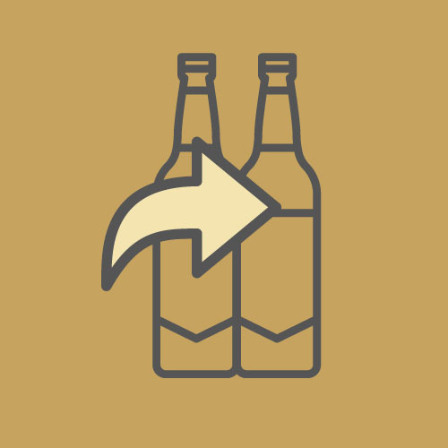 bottles with arrow
