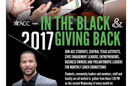 Speaking at the In The Black & Giving Back Speaker Series at Austin Community College District