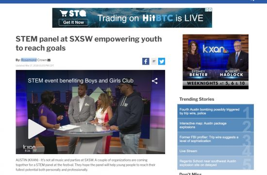 KXAN Segment: STEM panel at SXSW empowering youth to reach goals