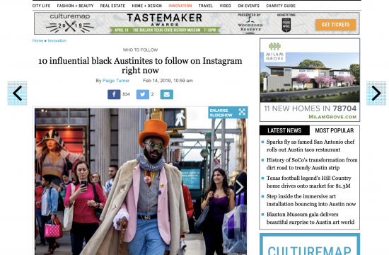 Recognized as one of 10 influential black Austinites to follow on Instagram right now