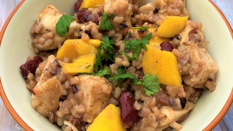 Chicken Ginger Mango Rice Bowl