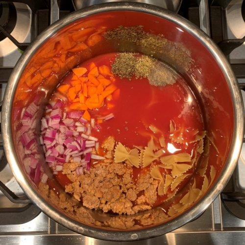 instant pot lasagna soup add all ingredients