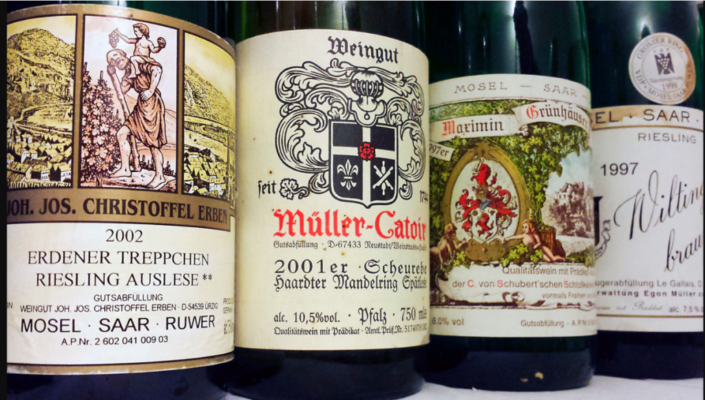 Line up of German Riesling to illustrate how confusing they can be.