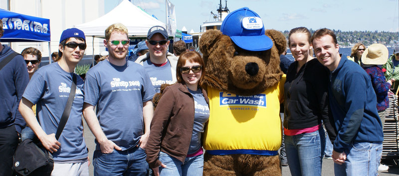 Bear with people photo