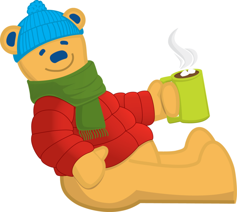 Bear mascot logo with cocoa