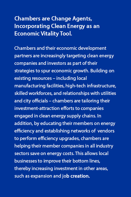 Chambers are change agents incorporating Clean Energy as an Economic Vitality tool