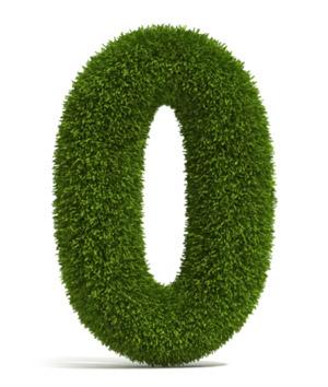 Hedge in the shape of a Zero representing zero energy buildings