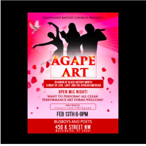 Friendship Baptist Church Presents:  AGAPE a Night of Poetry and Art