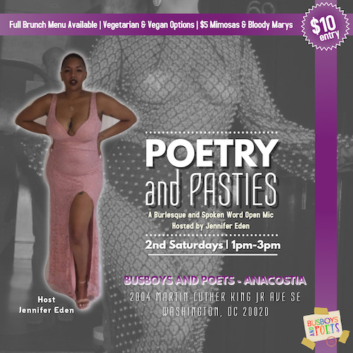 POETRY & PASTIES: A Burlesque and Spokenword Brunch Open Mic. Hosted by Jennifer Eden. 9.14.19
