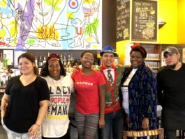 Busboys and Poets 14th & V team dressed in pajamas for annual pajama brunch at all locations