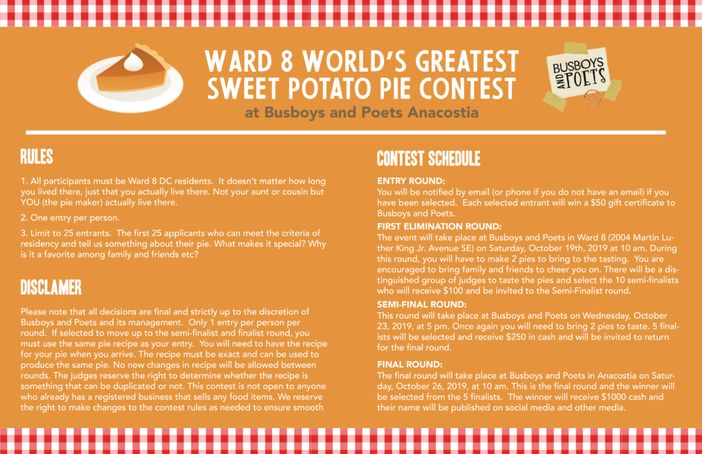 Sweet Potato Pie Contest Poster Rules