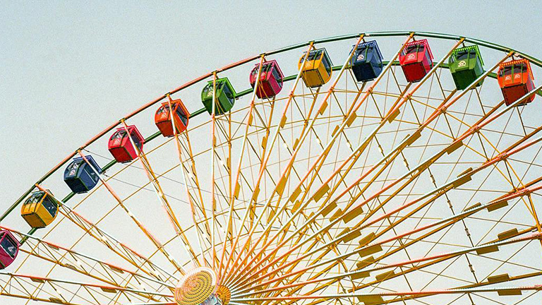 "Pastel ferris wheel called ""SkyWheel"" in Myrtle Beach, South Carolina."