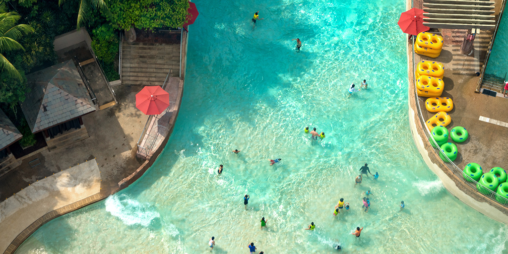 Aerial view of turquoise waterpark wave pool