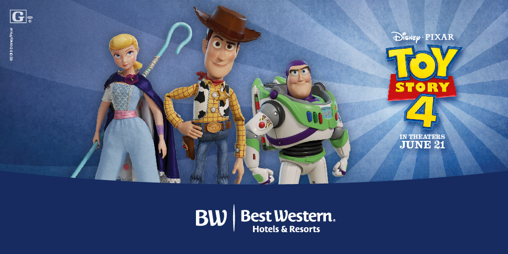 Bo, Woody and Buzz standing together next to Toy Story 4 and Best Western logo.