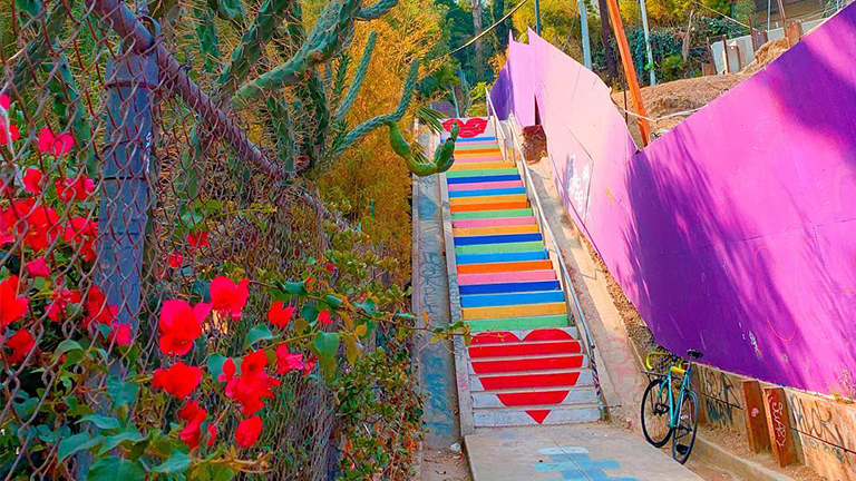 The Micheltorena Stairs in Los Angeles, California.
