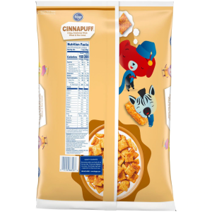 Kroger Cinnapuff Crispy Sweetened Whole Wheat & Rice Cereal 28 oz