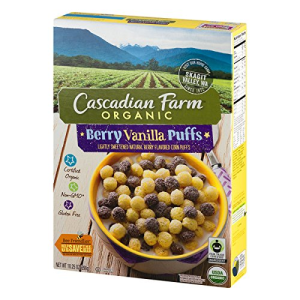 Cascadian Farm Organic Berry Vanilla Puffs Cereal 10.25 oz Box