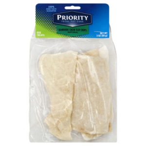Priority Total Pet Care Dog Treat Natural Rawhide Chips Chew Flip Bag - 3 Oz