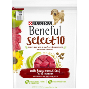 Purina Beneful Select 10 Dry Dog Food With Farm-Raised Beef  12.5 lb
