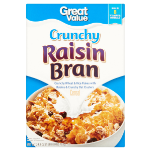 Great Value Breakfast Cereal  Crunchy Raisin Bran  24.8 Oz
